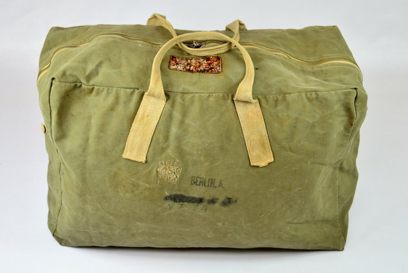 34d1befae881 WW2 Aviator Duffle w  Jerky Tag 1940s Air Force Canvas Duffle