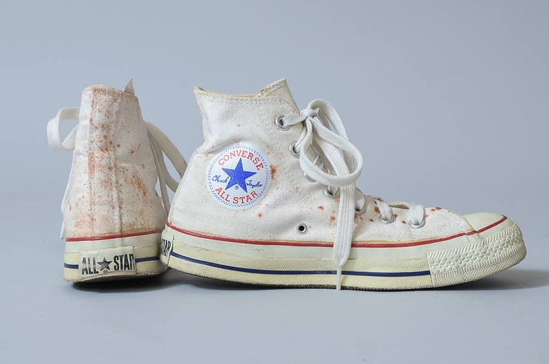 a5ce5f4098e0 80s Converse Made In USA White Chuck Taylor High Top Converse