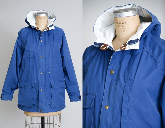 80s Woolrich Parka Blue Hooded Mountaineer Anorak