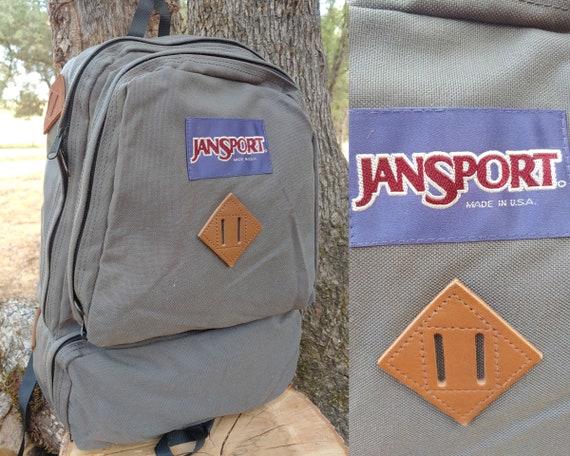 90s Jansport Backpack Grey Cordura & Leather Rucks