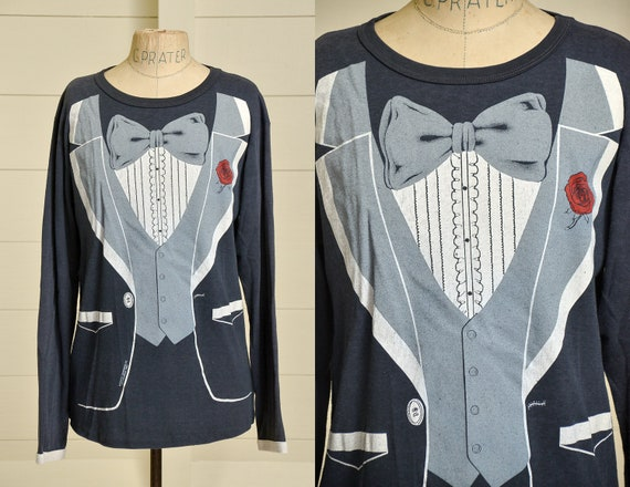 1980 Black Tuxedo T Shirt Long Sleeve Punk Tee
