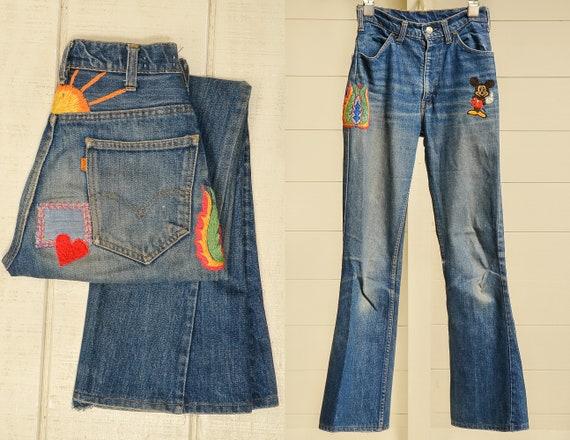 1960s Levis Embroidered Orange Tag 646 Field Hippi