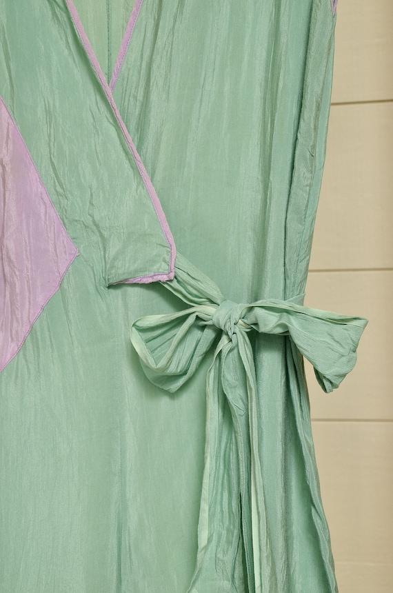 1930s Beach Pajamas Seafoam Green Silk Lounge Jum… - image 4