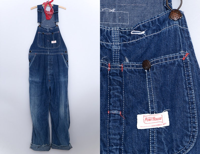 4be6f40ae4 1950s Overalls Powr House Montgomery Ward Dark Indigo Denim