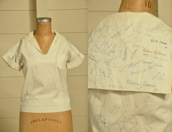 1950s Hand Drawn Memorial Shirt Sailor Style White