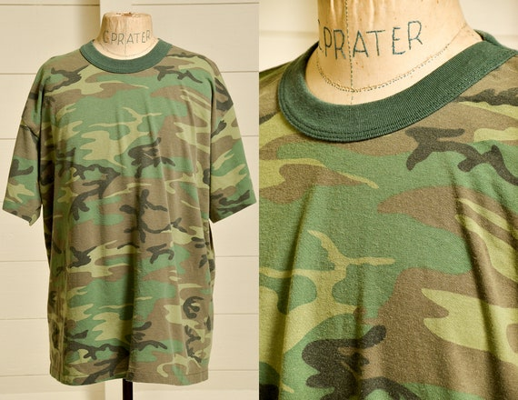 80s Camo Tee Distressed Army Green Camouflage T Sh