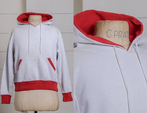 1950s Two Tone Hooded Sweatshirt White & Red Ribbe