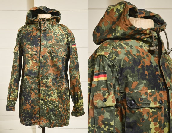 Vintage Hooded German Camouflage Cotton Military F