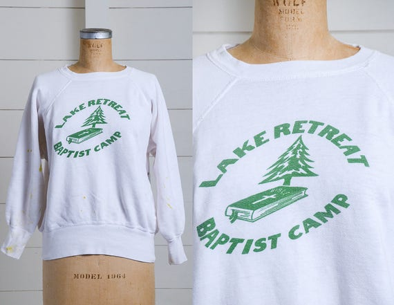 1950s Sweatshirt Lake Retreat Baptist Church White