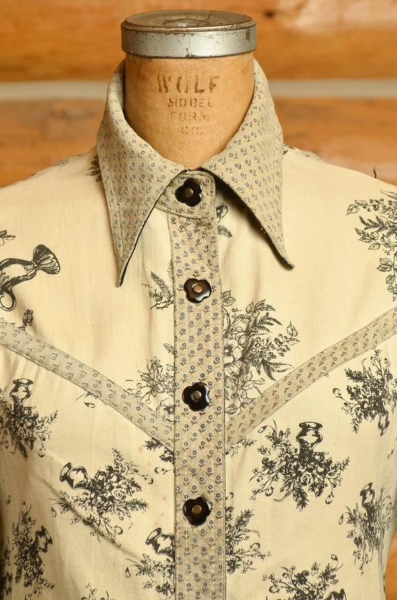 1960s Roncelli Denim & Leather Floral Hippie Jack… - image 2