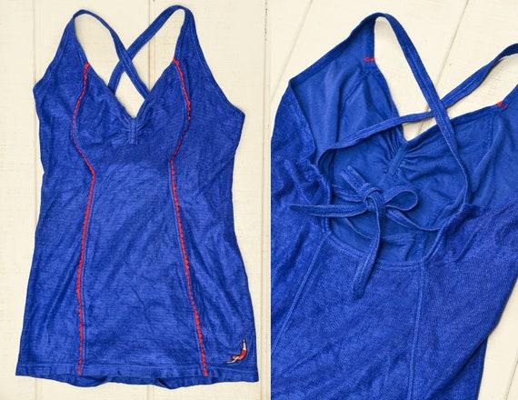 1940s JANTZEN Swimsuit Pin Up Blue Knit Open Back