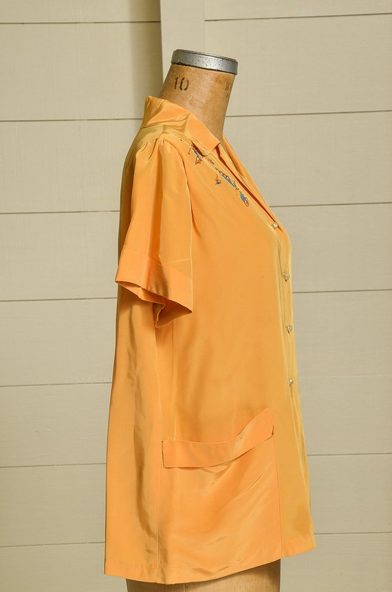 1950s Butterfly Blouse Mustard Yellow Rayon Butto… - image 2