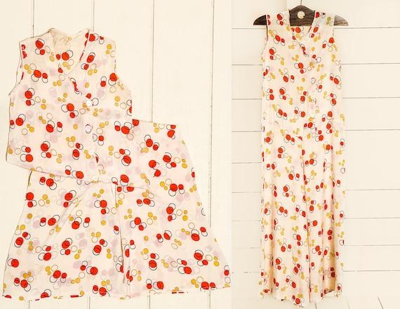 1930s Beach Pajamas Polka Dot Silk Lounge Jumpsuit