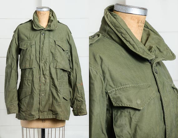70s Military Parka M-65 US Army Green Boho Stoner Hippie Minimalist Field  Jacket 2f57276e895
