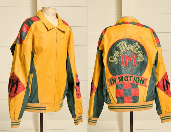 1980s In Motion Hip Hop Jacket Yellow & Green Leat