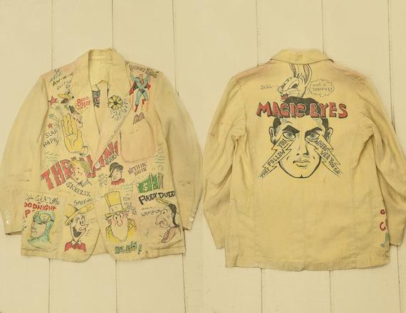 1920s Hand Drawn Memorial Jacket Amazing Flash Art
