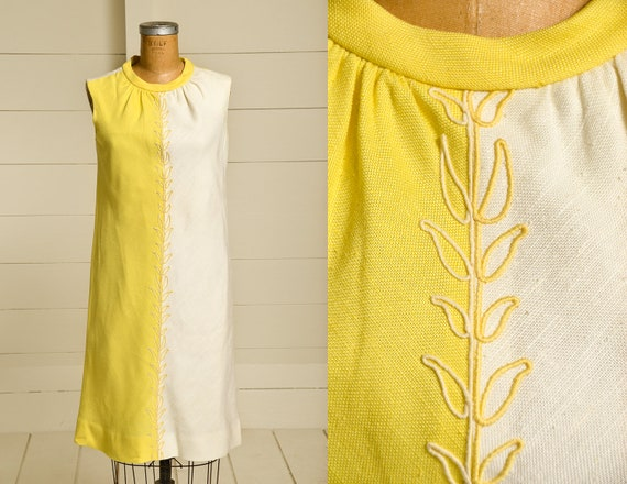 1960s Block Print Yellow & White Cotton Dolly Day