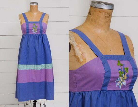 70s Patchwork Panel Hippie Dress Gunne Style Embro