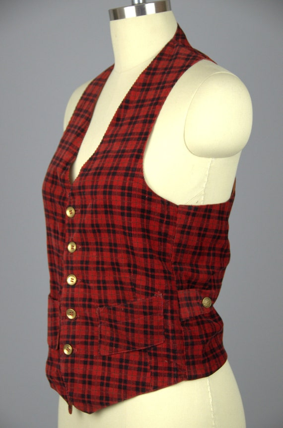 1930s Plaid Vest Buckle Back Red and Black Plaid … - image 2