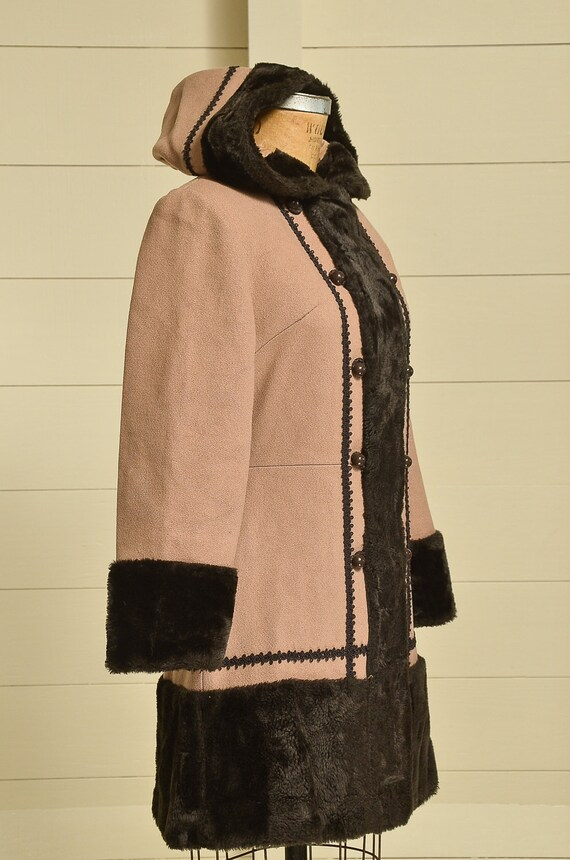 70s Princess Coat Faux Fur with Wool Button Down … - image 2