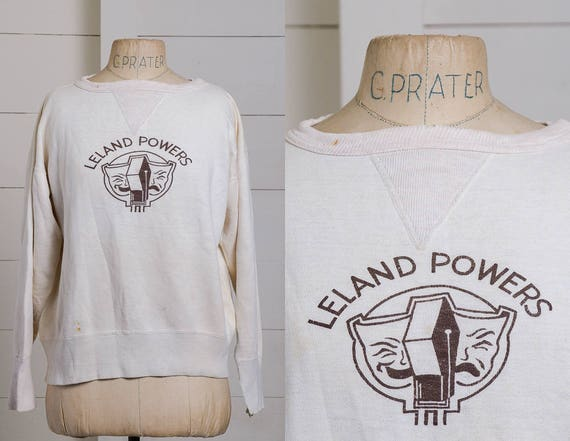 1940s V Stitch Sweatshirt Ivory Cotton Leland Powe
