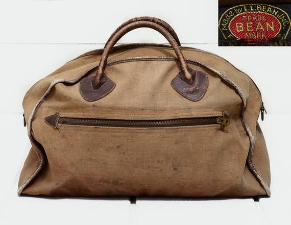 Astonishing 1940S L L Bean Canvas And Leather Duffle Travel Bag Rare Beatyapartments Chair Design Images Beatyapartmentscom