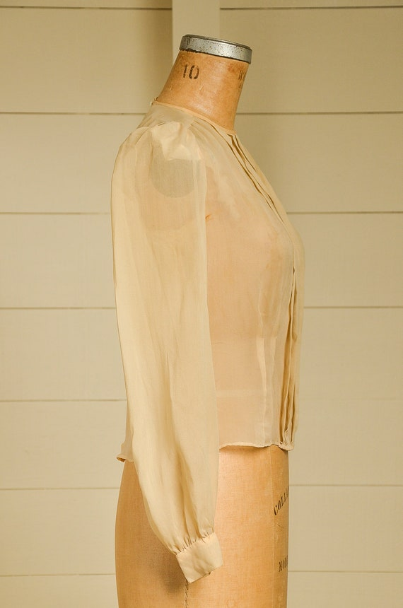Antique Silk Blouse Sheer Ivory Button Back Pleat… - image 2
