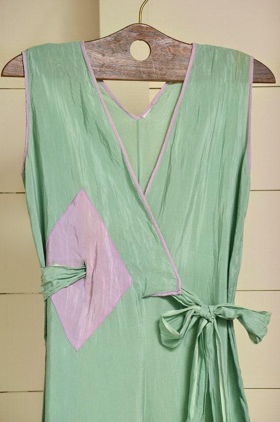 1930s Beach Pajamas Seafoam Green Silk Lounge Jum… - image 3