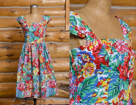 1980s Romantic Floral Day Dress Made in San Fransi