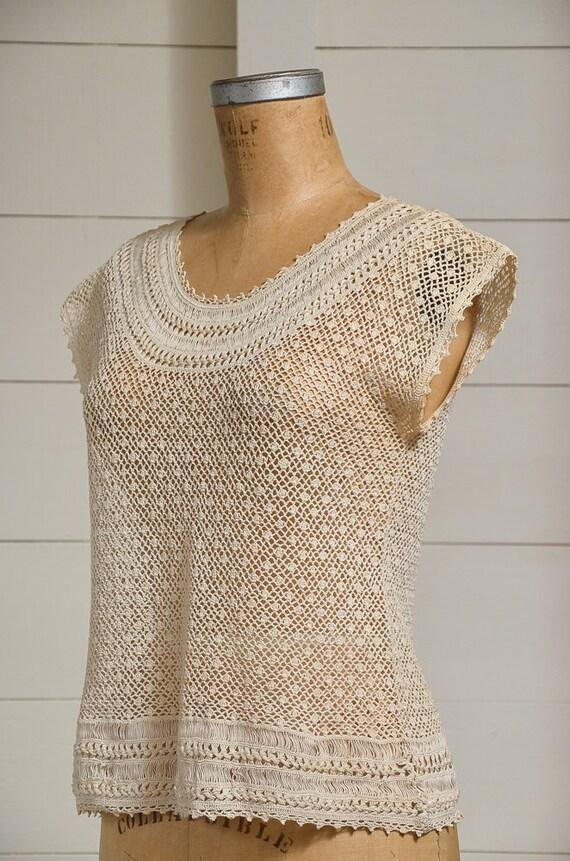 Antique Crochet Blouse Ivory Cotton Button Back B… - image 3