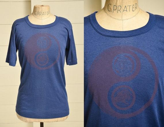 80s Yin Yang Roses Blue Hippie T Shirt