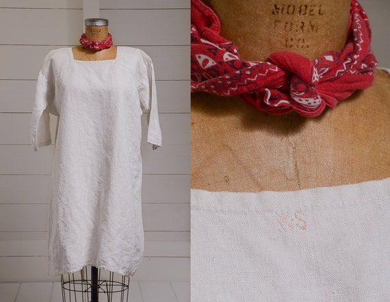 Antique French Linen Cotton Smock Dress White Weig