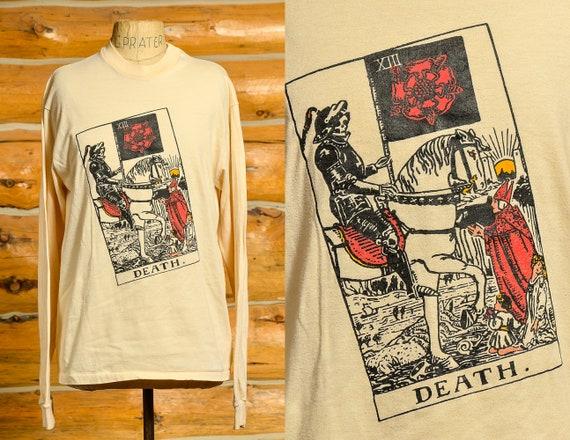 1980s Tarot Card Death T Shrit Long Sleeve Cotton