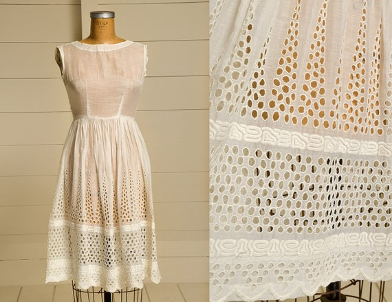 1920s Cotton Dress Eyelet Cotton Hand Laced Bohemi