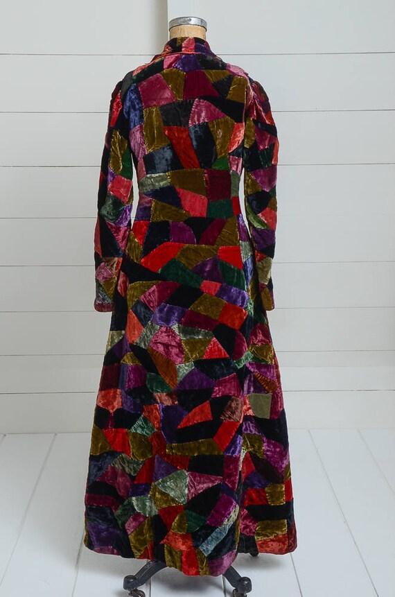 1920s Velvet Patchwork Quilt Coat Full Length Dus… - image 6