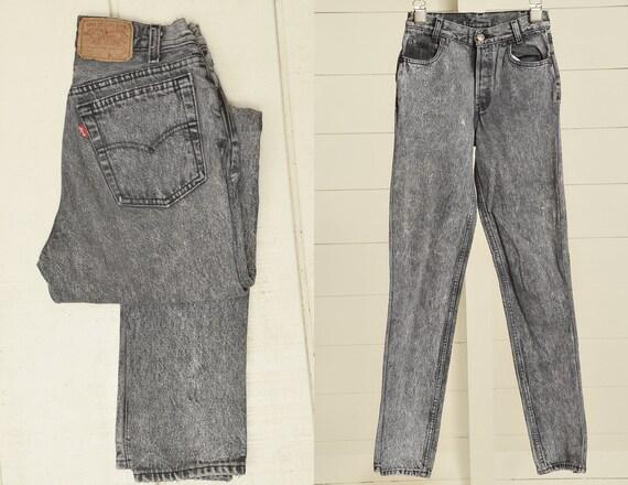 80s Levis 701 Black Acid Wash Denim Made in USA Je