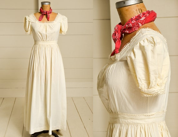 Edwardian Cotton Pioneer Dress Ivory Cotton Lace T