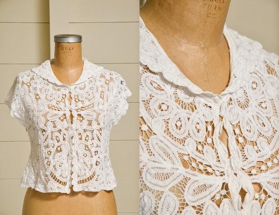 Antique Lace Blouse Victorian Revival White Cotto… - image 1