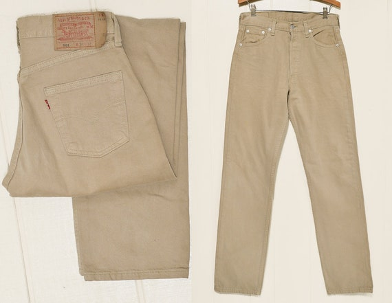80s Levis 501 Beige Denim Made in USA High Waisted