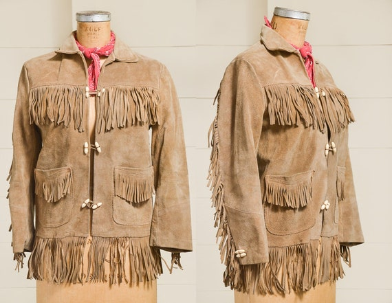 60s Leather Fringe Jacket Brown Suede Leather Long