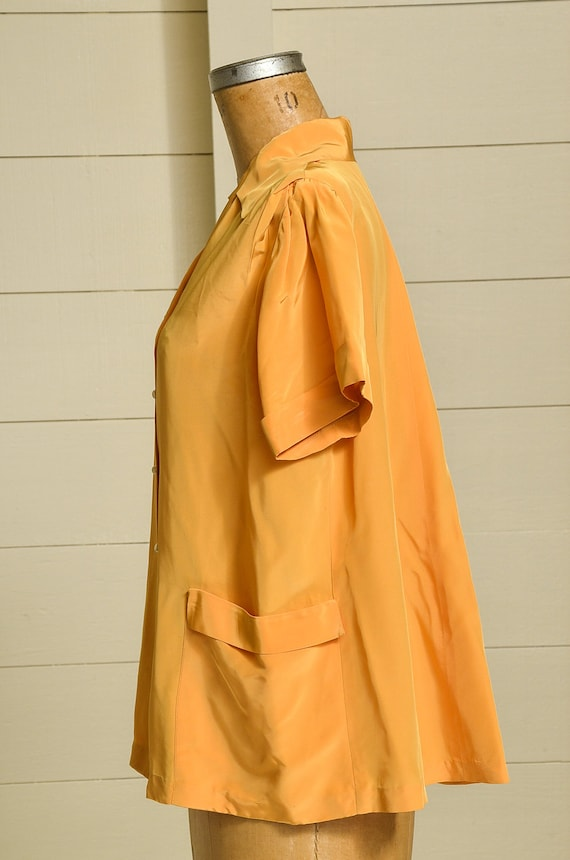 1950s Butterfly Blouse Mustard Yellow Rayon Butto… - image 3