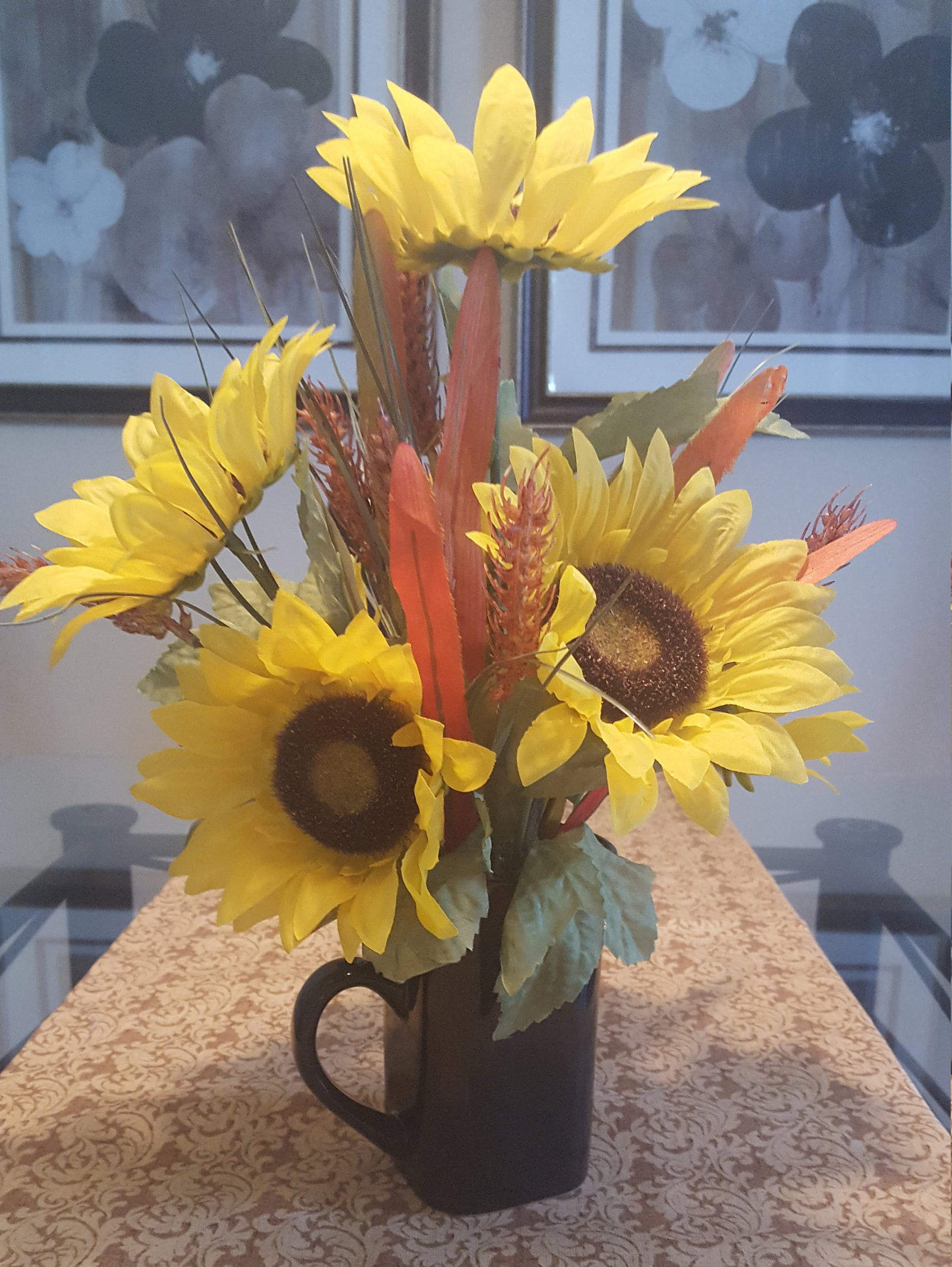 Floral Arrangement Silk Flower Arrangement Silk Sunflower