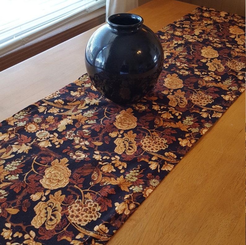 Rust Table Runner Fall Table Runner Fall Floral Table Runner Black and Gold Table Runner