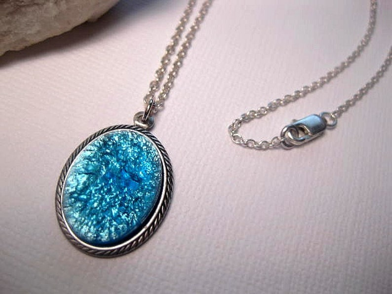 Opal Necklace Turquoise Aqua  Glass Stone Pendant  Sea image 0