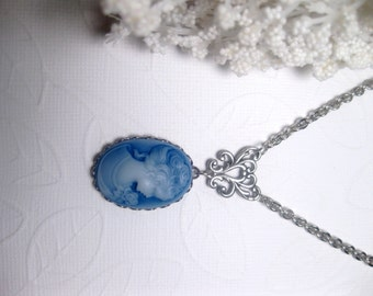 Blue Cameo Necklace - Pendant - Lady Cameo - Gift For Her - Christmas Gift