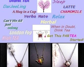 Teapot Necklace - Antique Bronze - Choose Your Color