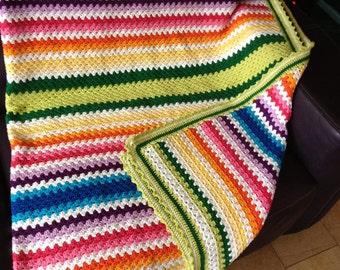 Granny Stripe Afghan Etsy