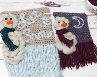PDF Crochet PATTERN Snowman Wall Hanging