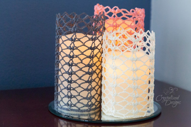PDF Crochet PATTERN Unconditional Love Candle Sleeve image 0
