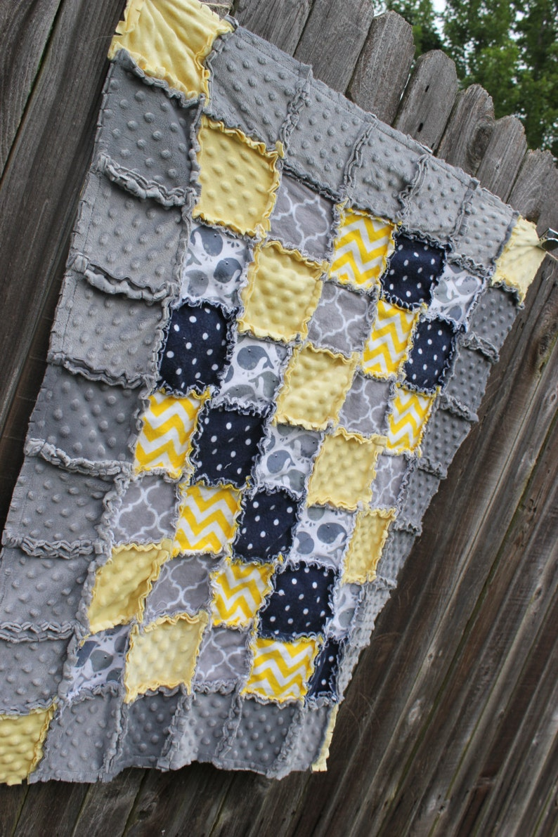 Navy Yellow /& Gray Whale Rag QuiltBlanket would be adorable boy or girl nursery crib beddingquilt Perfect baby shower birthday gift